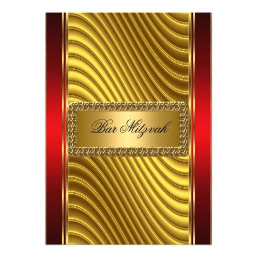 Ouro e convite vermelho de Mitzvah do bar