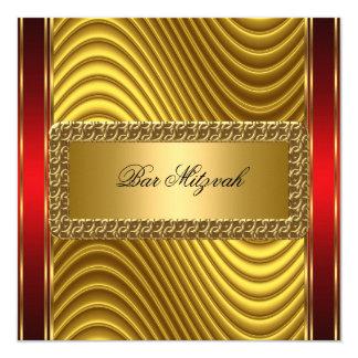 Ouro e convite vermelho de Mitzvah do bar do art