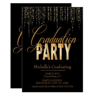 Ouro e convites pretos da festa de formatura