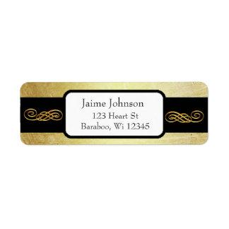 Ouro e etiqueta elegante do endereço do remetente etiqueta endereço de retorno