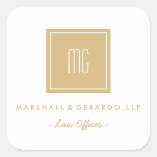 Ouro e etiquetas brancas do logotipo do negócio do