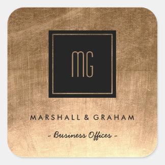 Ouro e etiquetas pretas do negócio do monograma adesivo quadrado