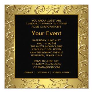 Ouro e evento incorporado do partido do preto convite quadrado 13.35 x 13.35cm