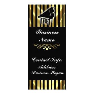 Ouro e listras pretas do cartão da cremalheira do  modelo de panfleto informativo