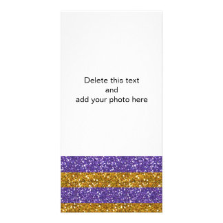 Ouro e listras roxas do brilho impressos cartão com foto