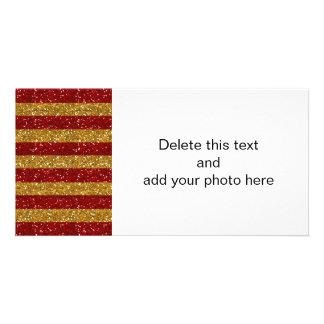 Ouro e listras vermelhas do brilho impressos cartão com foto