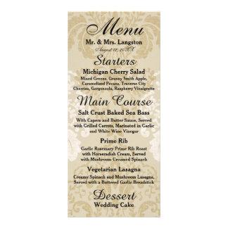 Ouro e menu branco da recepção do damasco 10.16 x 22.86cm panfleto