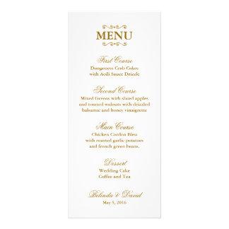 Ouro e menu ornamentado branco do casamento da