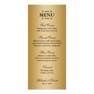 Ouro e menu ornamentado preto do casamento da