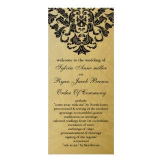 ouro e programa preto do casamento panfleto