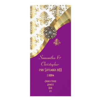 Ouro e programa roxo do casamento da igreja do 10.16 x 22.86cm panfleto