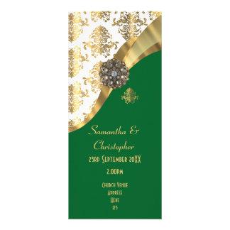 Ouro e programa verde do casamento da igreja do 10.16 x 22.86cm panfleto