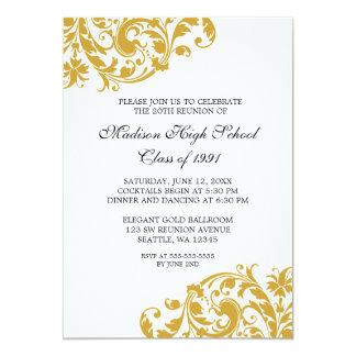 Ouro e reunião de classe do Flourish do preto Convite 12.7 X 17.78cm