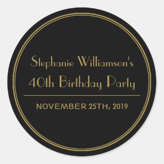 Ouro e selos pretos da festa de aniversário do art adesivo redondo