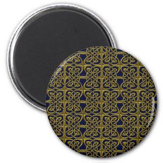 Ouro e teste padrão conectado azul do céltico dos imãs de geladeira