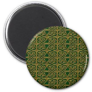 Ouro e teste padrão conectado verde do céltico dos imã de refrigerador
