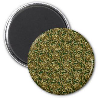 Ouro e teste padrão de nós espiral celta verde imãs