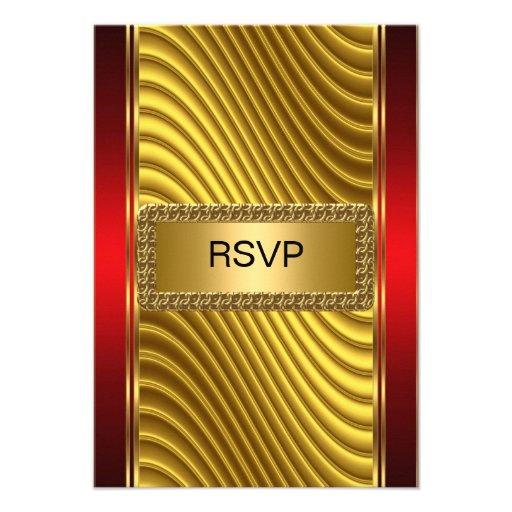 Ouro e vermelho do rsvp de Mitzvah do bar Convite