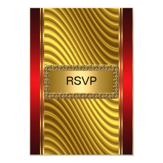 Ouro e vermelho do rsvp de Mitzvah do bar Convite 8.89 X 12.7cm