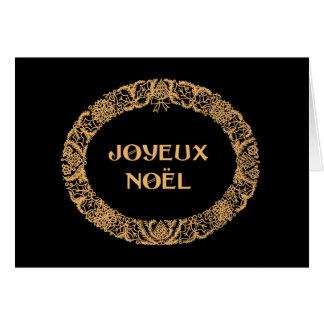 Ouro-efeito francês do cartão da grinalda do Natal