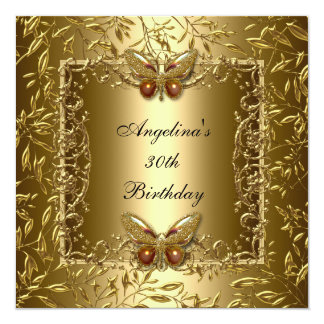 Ouro elegante da borboleta do aniversário de 30 convites