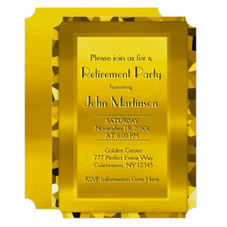 Ouro elegante do partido de aposentadoria | convite 12.7 x 17.78cm
