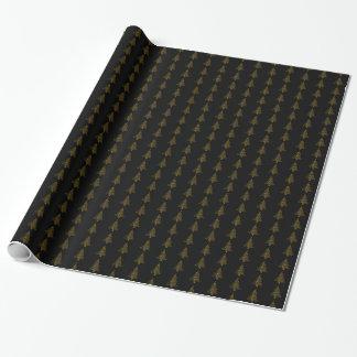 Ouro elegante do preto do teste padrão listrado de papel de presente