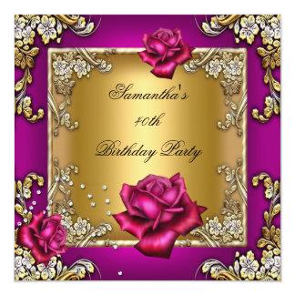 Ouro elegante do rosa do rosa do partido de convite quadrado 13.35 x 13.35cm