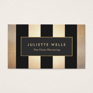 Ouro elegante e decorador interior listrado preto cartão de visitas