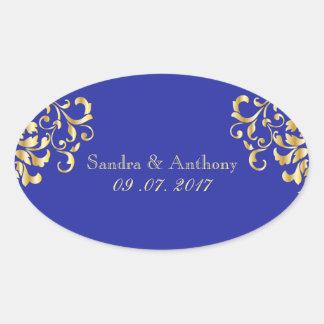 Ouro elegante e etiquetas azuis do casamento tema