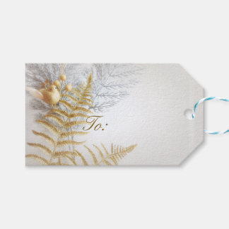 Ouro elegante e pássaro e folhas da prata festivos etiqueta para presente
