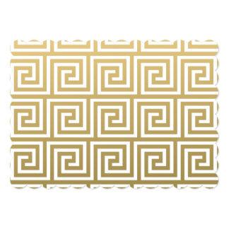 Ouro elegante e teste padrão chave grego branco convite 12.7 x 17.78cm