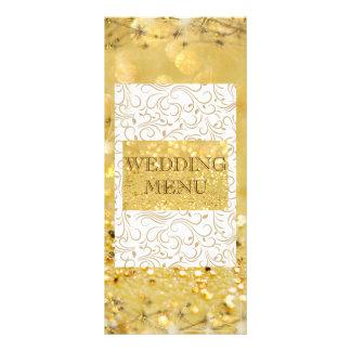 Ouro elegante menu Wedding personalizado 10.16 X 22.86cm Panfleto