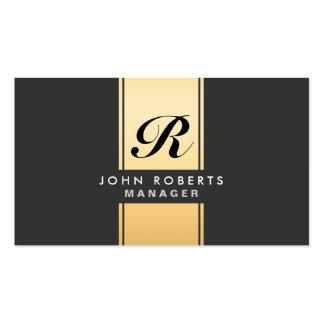 Ouro elegante profissional e preto do monograma cartão de visita