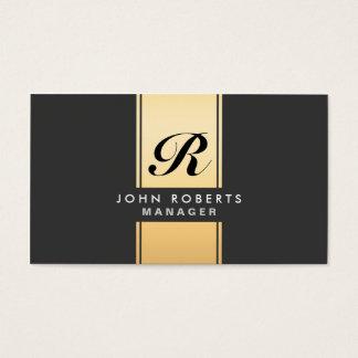 Ouro elegante profissional e preto do monograma cartão de visitas
