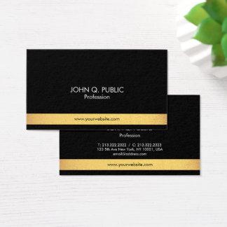 Ouro elegante profissional moderno liso e preto cartão de visitas