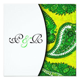 Ouro elétrico & convite verde do casamento de