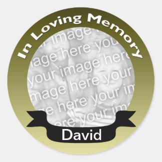 Ouro em etiquetas Loving da foto da memória Adesivo Redondo