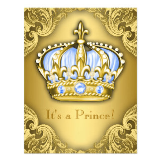 Ouro extravagante dos azuis bebés do príncipe chá convites personalizado
