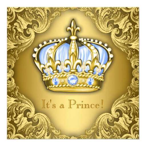 Ouro extravagante dos azuis bebés do príncipe chá convite personalizados