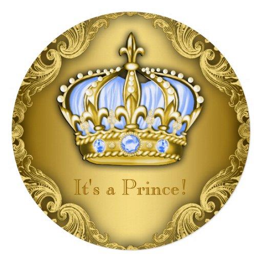 Ouro extravagante dos azuis bebés do príncipe chá convites personalizados