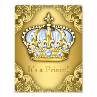 Ouro extravagante dos azuis bebés do príncipe chá convite 10.79 x 13.97cm