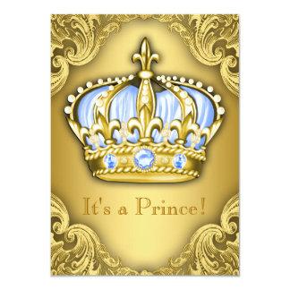 Ouro extravagante dos azuis bebés do príncipe chá convite 11.30 x 15.87cm