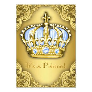 Ouro extravagante dos azuis bebés do príncipe chá convite 12.7 x 17.78cm