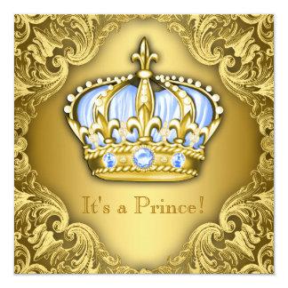 Ouro extravagante dos azuis bebés do príncipe chá convite quadrado 13.35 x 13.35cm