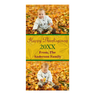 Ouro feliz da acção de graças 2 fotos - cartão com cartão com foto
