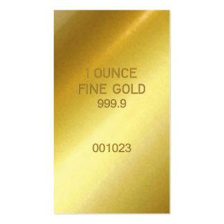 Ouro fino de 1 onça cartão de visita