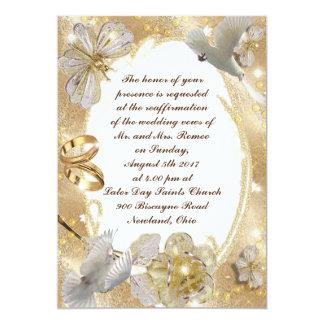 Ouro floral e prata do cartão do convite do