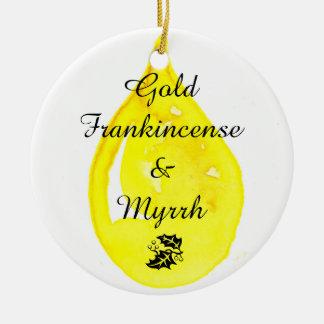 Ouro, Frankincense e mirra. Ornamento