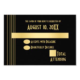 Ouro geométrico do art deco e cartão preto da convite 8.89 x 12.7cm